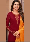 Maroon Cotton Silk Festival Churidar Suit - 1
