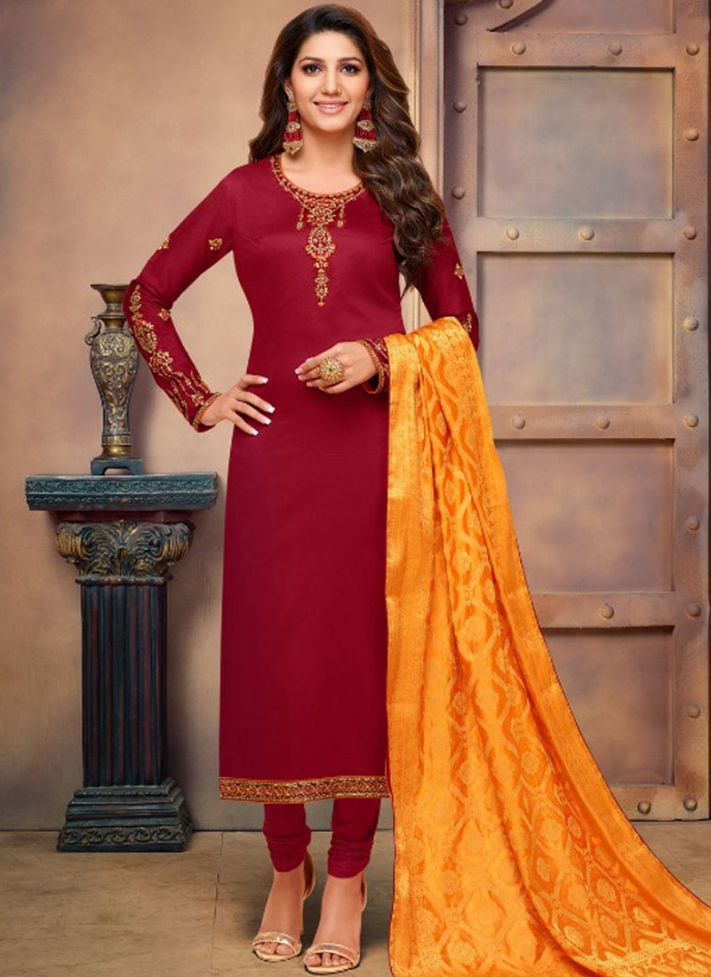 Maroon Cotton Silk Festival Churidar Suit