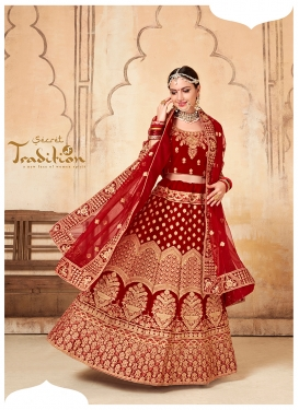 Maroon Embroidered Velvet A Line Lehenga Choli