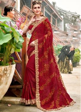 Maroon Georgette Wedding Classic Saree