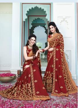 Maroon Silk Mehndi Classic Saree