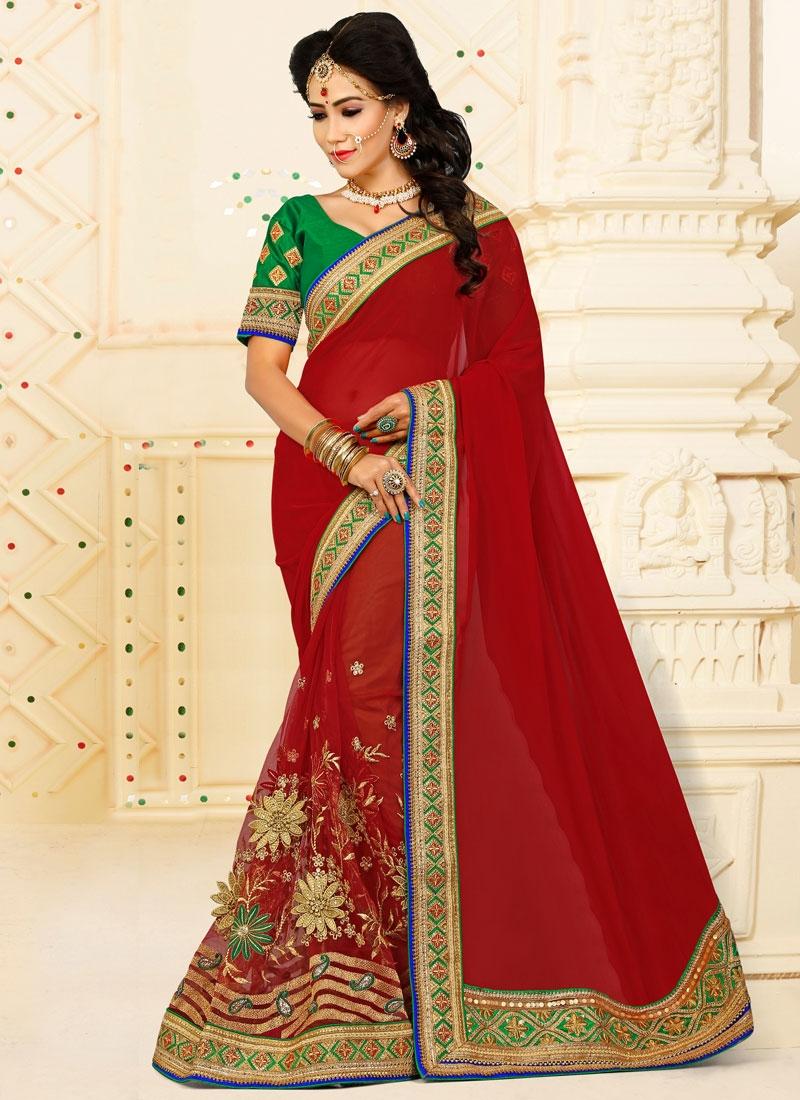 Marvelous Crimson Net Classic Designer Saree
