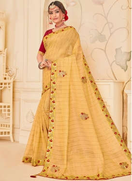Marvelous Patch Border Poly Silk Yellow Designer Traditional Saree