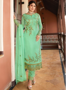 Marvelous Turquoise Reception Pant Style Suit
