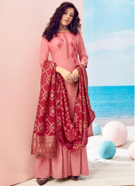 Maslin Embroidered Work Palazzo Style Pakistani Salwar Suit
