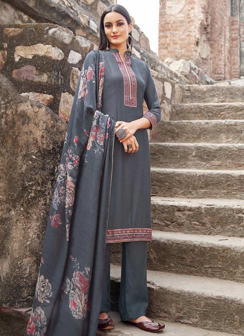 Maslin Embroidered Work Pant Style Pakistani Salwar Kameez