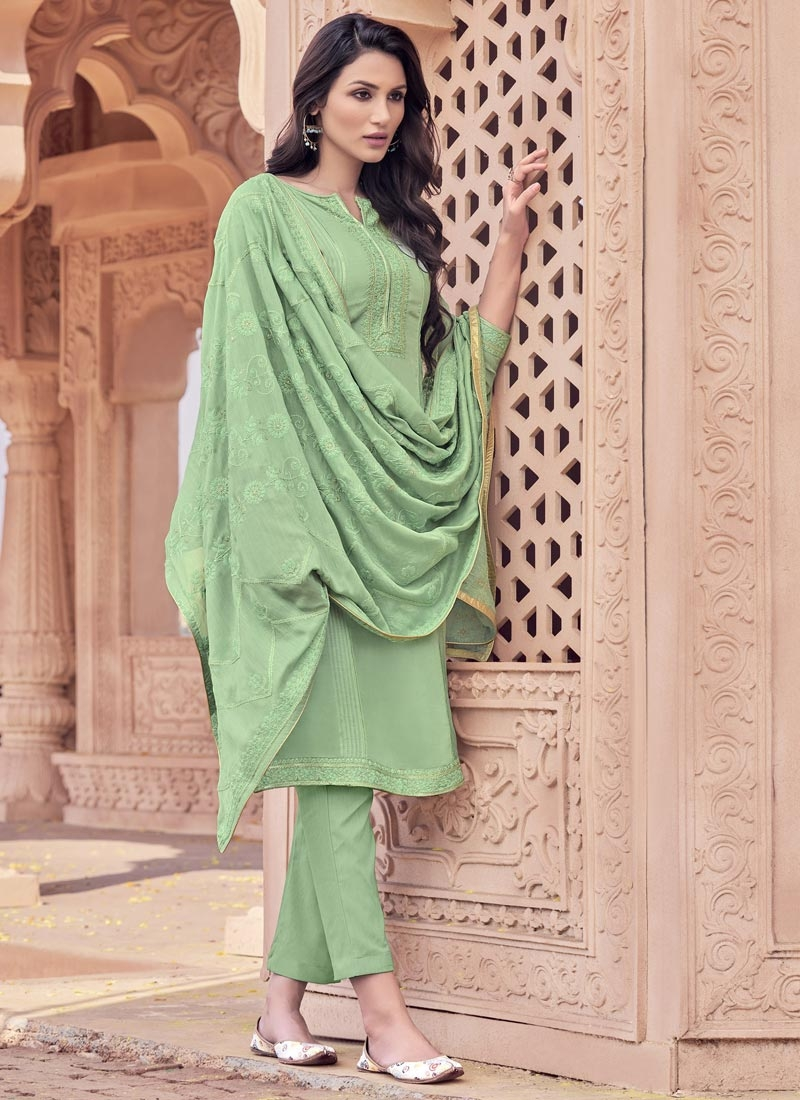 Maslin Embroidered Work Pant Style Pakistani Salwar Suit