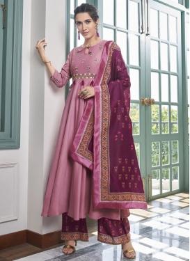 Maslin Magenta and Pink Embroidered Work Designer Palazzo Salwar Kameez