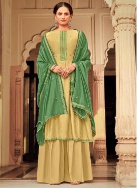 Maslin Palazzo Style Pakistani Salwar Kameez For Ceremonial