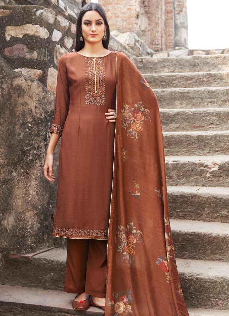 Maslin Palazzo Style Pakistani Salwar Suit
