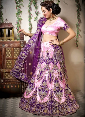 Masterly Embroidered Net Pink Designer Lehenga Choli