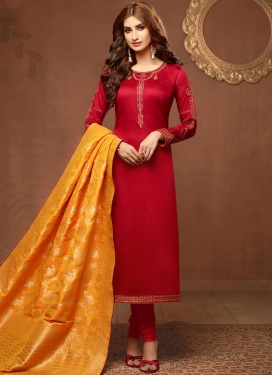 Masterly Red Stone Work Churidar Suit