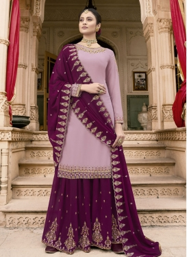 Mauve and Purple Palazzo Designer Salwar Suit For Party