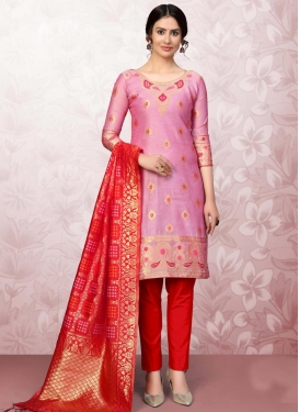 Mauve and Red Woven Work Pant Style Salwar Suit