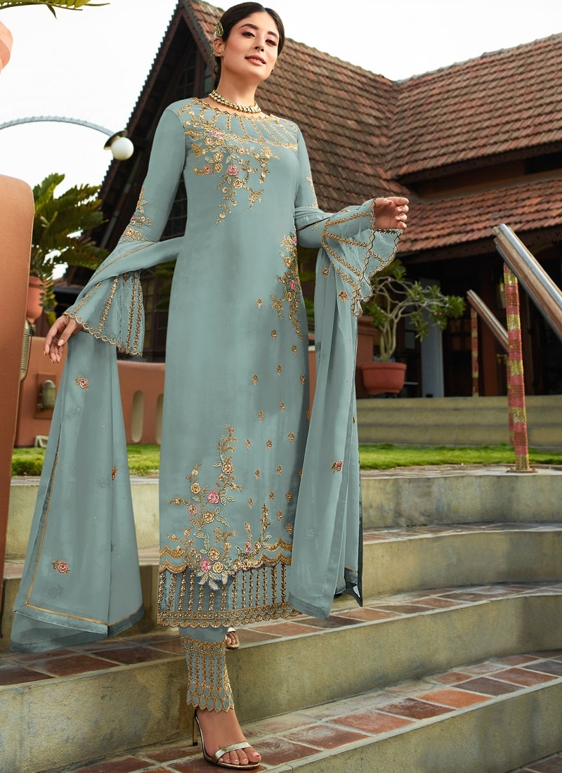 Mesmeric Aqua Blue Resham Pant Style Suit