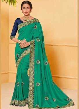 Mesmerizing Art Silk Sea Green Traditional Designer Saree