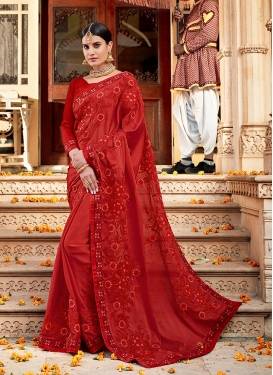 Mesmerizing Embroidered Satin Silk Red Classic Designer Saree