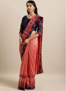 Mesmerizing Faux Georgette Salmon Saree