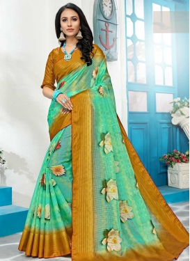 Mint Green and Mustard Designer Contemporary Saree For Ceremonial