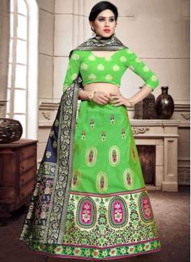 Mint Green and Navy Blue A Line Lehenga Choli For Ceremonial