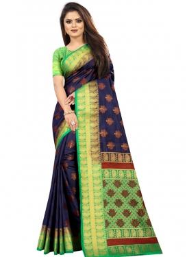 Mint Green and Navy Blue Art Silk Trendy Classic Saree