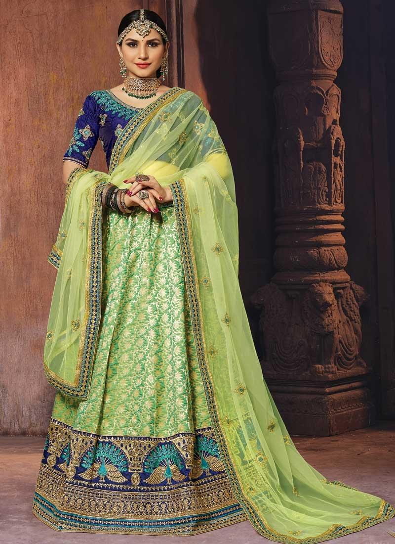 Mint Green and Navy Blue Art Silk Trendy Lehenga Choli