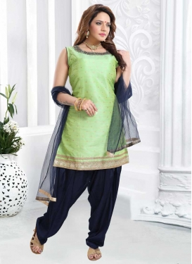 Mint Green and Navy Blue Cutdana Work Readymade Salwar Suit