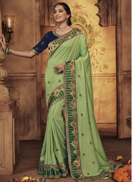Mint Green and Navy Blue Designer Traditional Saree
