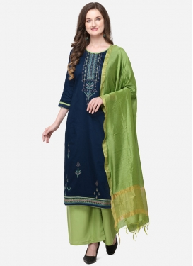Mint Green and Navy Blue Embroidered Work Palazzo Style Pakistani Salwar Suit