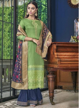Mint Green and Navy Blue Palazzo Style Pakistani Salwar Suit