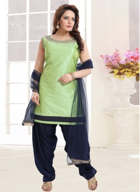 Mint Green and Navy Blue Readymade Salwar Suit For Festival