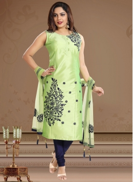 Mint Green and Navy Blue Tafeta Silk Readymade Churidar Suit