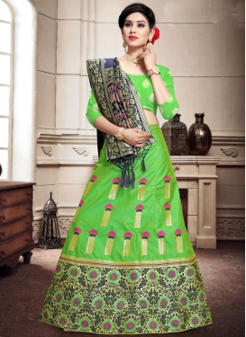 Mint Green and Navy Blue Trendy Lehenga Choli