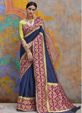 Mint Green and Navy Blue Trendy Saree