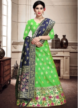 Mint Green and Navy Blue Woven Work Banarasi Silk Trendy Lehenga Choli