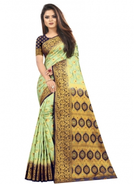 Mint Green and Navy Blue Woven Work Designer Contemporary Style Saree