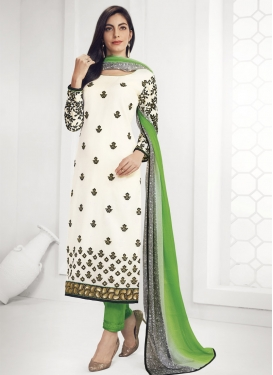 Mint Green and Off White Embroidered Work Pant Style Pakistani Salwar Suit
