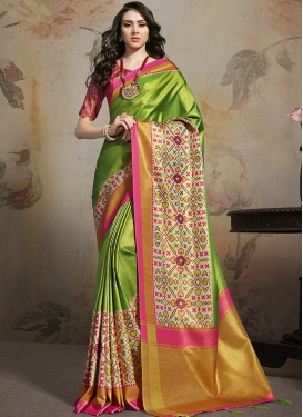 Mint Green and Off White Satin Silk Trendy Classic Saree