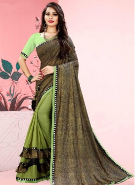 Mint Green and Olive Half N Half Trendy Saree For Casual