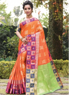 Mint Green and Orange Woven Work Trendy Designer Saree