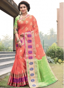Mint Green and Peach Trendy Saree
