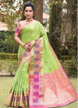 Mint Green and Pink Woven Work Classic Saree