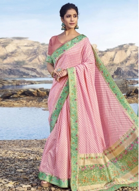 Mint Green and Pink Woven Work Designer Contemporary Style Saree