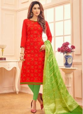 Mint Green and Red Churidar Salwar Kameez For Ceremonial