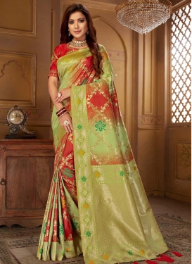 Mint Green and Red Designer Contemporary Saree