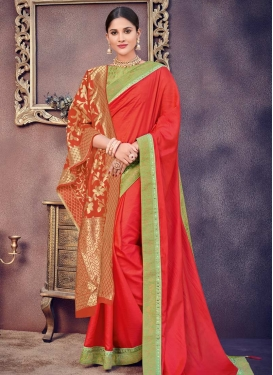 Mint Green and Red Designer Contemporary Style Saree