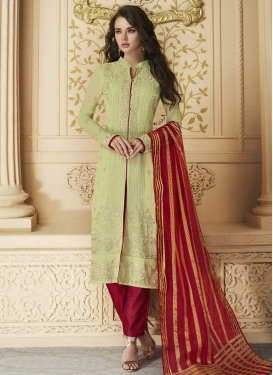 Mint Green and Red Embroidered Work Pant Style Designer Salwar Suit