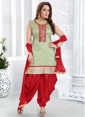Mint Green and Red Embroidered Work Readymade Suit