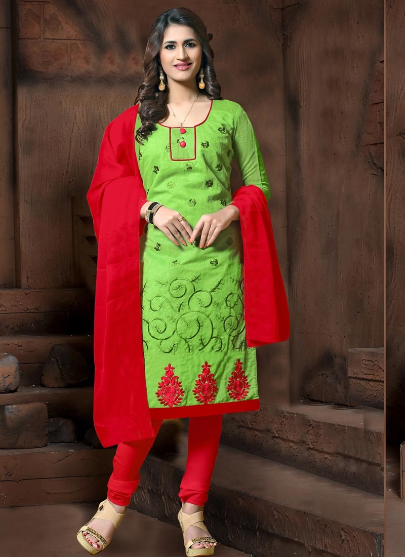 Mint Green and Red Embroidered Work Trendy Churidar Suit