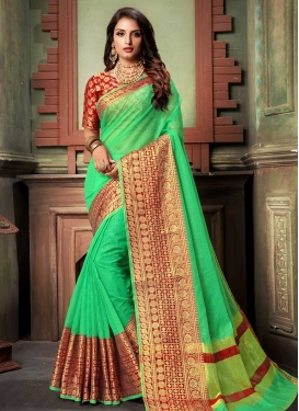 Mint Green and Red Traditional Designer Saree